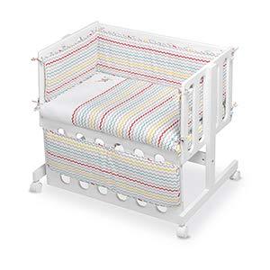 Pirulos 24911630 - Vestidura Minicuna colecho, diseño espin, algodón, color blanco y lino