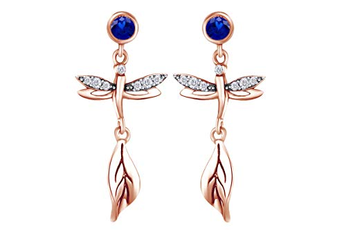 - Wishrocks Round Simulated Blue Sapphire With Cubic Zirconia Dragonfly Drop Earring In 14k Rose Gold Over Sterling Silver