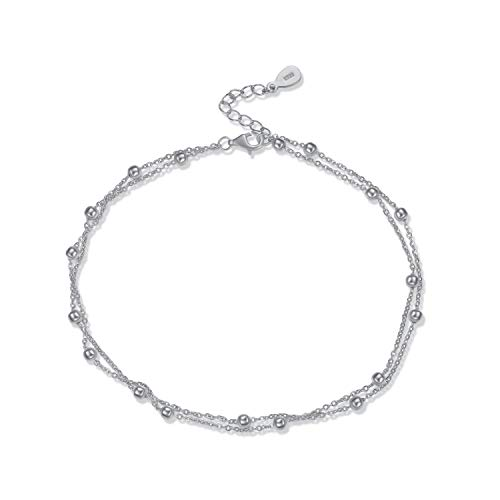 Sterling Silver Dainty Anklet - Beaded Chain Ankle Bracelet ()
