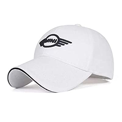 JDclubs Mini Logo Embroidered Adjustable Baseball Caps for Men and Women Hat Travel Cap Car Racing Motor Hat (White): Automotive