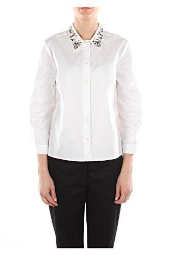 P4843RBIANCOPOPELINE Prada Camisas Mujer Algodón Blanco Blanco