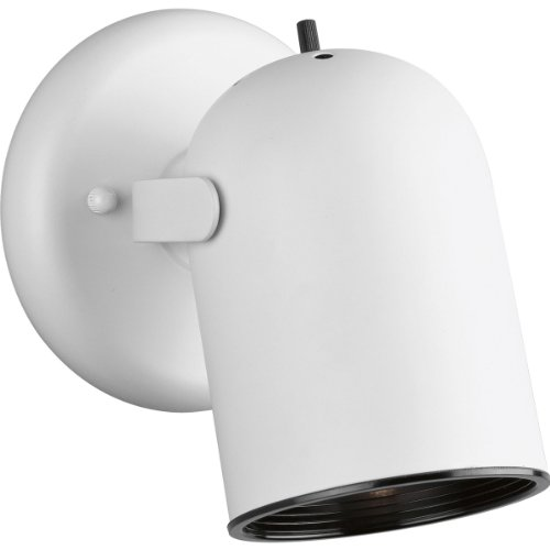 (Progress Lighting P6155-30 1-Light Round Back Directional Metal Cylinder Style Light with On/Off Switch, White)