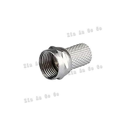 Davitu 50pcs F male crimp RF Coxial connector F male Plug straight Crimp for RG6 75