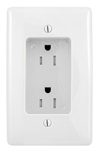 Bryant Electric RR1510W Box Mount 1-Gang Recessed TV Connection Outlet Plate with 15 Amp 125V Tamper-Resistant Duplex Receptacle, White - Mount Coax Wall