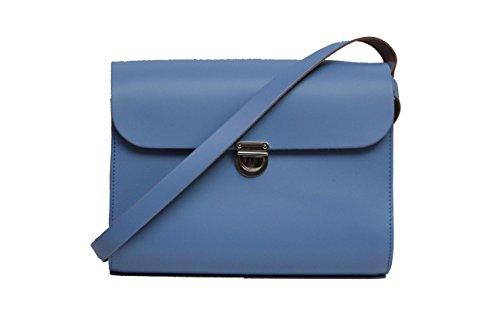 Enlargement Leather Light Real Satchel Brackets Crossbody Blue Strap Adjustable Closing n With And Handbag rqrw6p