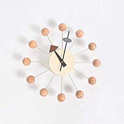 LNDDP Wooden and Metal Simulation Movement 12.5 Modern Wall Clock Mute tick | Decoration | Color Wooden Ball | pin Wheel Concept,E