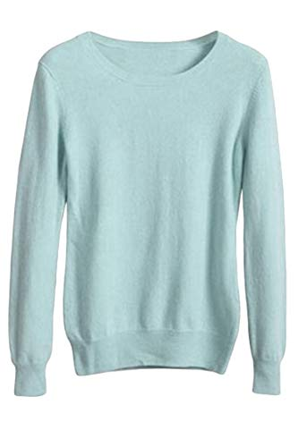 Viottiset Women's Crewneck Cashmere Wool Long Sleeve Pullover Sweater Blue - Sweater Neck Round Cashmere