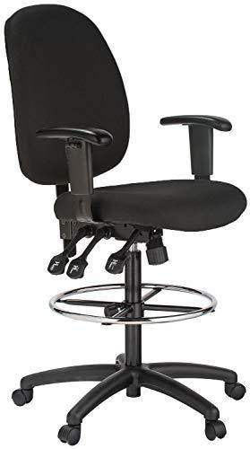 Harwick 6058C-D-BK Extra Tall Ergonomic Drafting Chair, Black Fabric