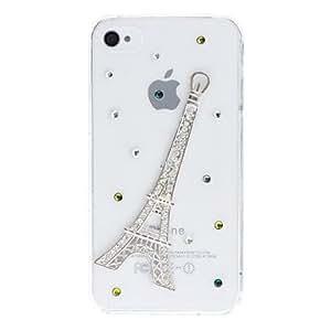 JJEDiamond Look 3D Eiffel Tower Design Transparent PC Hard Case for iPhone 4/4S