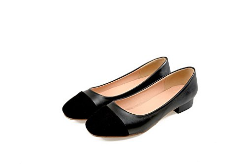 VogueZone009 Damen Weiches Material Ziehen auf Rund Zehe Niedriger Absatz Pumps Schuhe, Schwarz, 39
