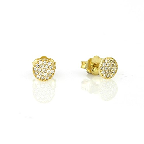 pave set diamond stud earrings (9 Ct Gold Set)