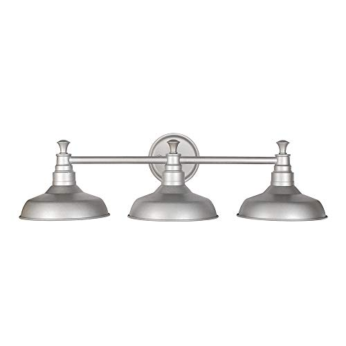 Hanging Vanity Bathroom (Design House 520312 Kimball 3 Light Vanity Light, Galvanized Steel Finish)