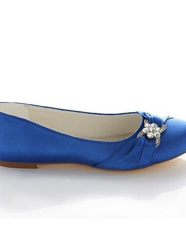 Tacón plano Fiesta rosa de con redonda real de Azul Vestido Boda Pisos Plata color Zapatos Rojo ShangYi Noche mujer seda punta de champagne Morado y wfqxUtn7pI