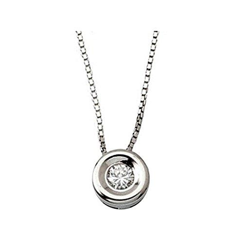 Pendentif 0,08ct collier de diamants or blanc 18 carats lunette [5895]