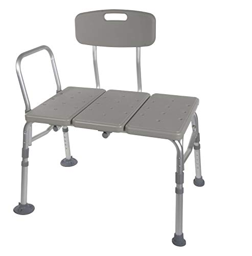 - HEALTHLINE Tub Transfer Bench, Lightweight Medical Bath and Shower Chair with Back Non-Slip Seat, Bathtub Transfer Bench for Elderly and Disabled, Adjustable Height, Grey