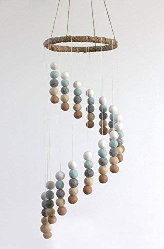 (Spiral Felt Ball Nursery Ceiling Mobile- Ice Blue, Tan, Gray & White)