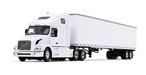 (First Gear 1/64 Scale Diecast Collectible White/White Volvo VN670 Sleeper Cab with 53' Trailer (60-0236) )