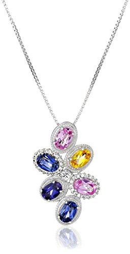 Sterling Silver Created Pink, White, Yellow and Purple Sapphire Multi-Cluster Pendant Necklace, 18