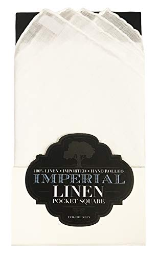 Imperial Prefolded Linen Pocket Square, Men's Suit Handkerchief (White) ()