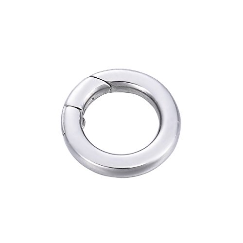 YF 1PCS Stainless Steel Polished Round Enhancer Shortener Ring Spring Clasp for Jewelry Making 14.5mm