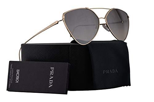 Prada PR51US Sunglasses Pale Gold w/Gradient Grey Mirror Silver 62mm Lens ZVN5O0 SPR51U PR 51US SPR 51U
