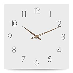 Jpettie Simple Modern Decorative Wall Clocks, White Square Wooden Clock, Wall Clocks, No Ticking Silent Wall Clocks Battery Operated for Kitchen Bedroom