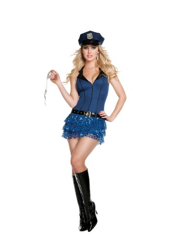 Sequin Police Hat (Starline Officer Hottie Sexy Cop Women's Costume Set, Blue, Small)