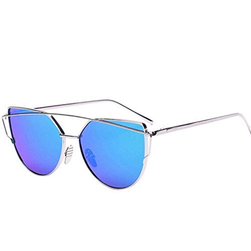 1661 VIASA Women Fashion Twin-Beams Classic Metal Frame Mirror Sunglasses (Silver, Blue) from VIASA_sunglasses