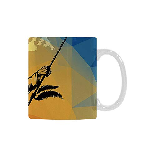 Native American Utility White Printed Mug,War Dance Ritual Against Ancient Totem Poly Effect Triangles Abstract for Home Office,11oz