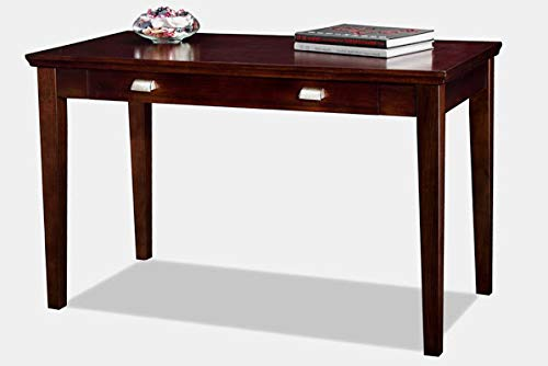 - Wood Desk with Drawers and Keyboard Tray - Rectangular Writing Desk with Square Legs - Chocolate Cherry