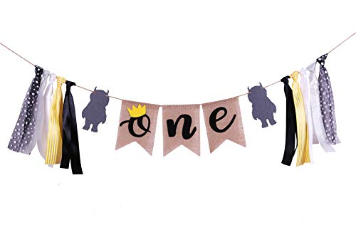Wild One 1st Birthday Highchair Banner- Handmade Wild One First Birthday Decorations for Photo Booth Props Party Supplies