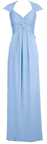 Macloth Élégante Robe De Bal Simple Jersey Ouvert Long Dos Bleu Ciel Robe De Soirée