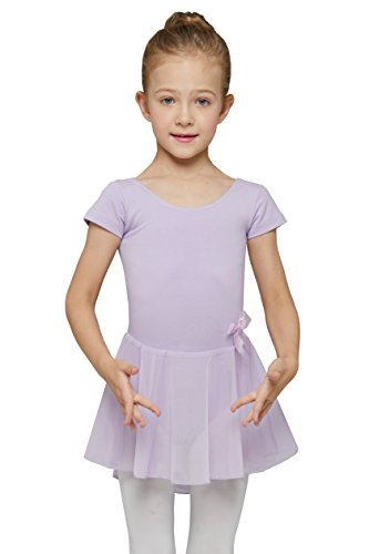 Dance Leotard with Skirt for Girls by Mdnmd (Tag130 Age 6-8, Lilac Purple)