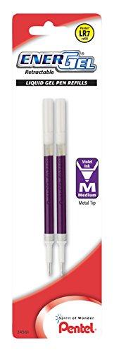 Pentel Refill Ink, for EnerGel & Lancelot Gel Pen, 0.7mm Metal Tip, Medium, Violet Ink, Pack of 2 (LR7BP2V) (Pentel Pen Metal Refillable)