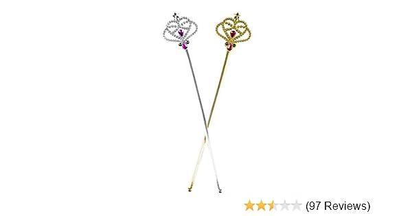 Stunning Rhinestones Queen Scepter Princess Fairy Wand Wedding Hand Prop Silver