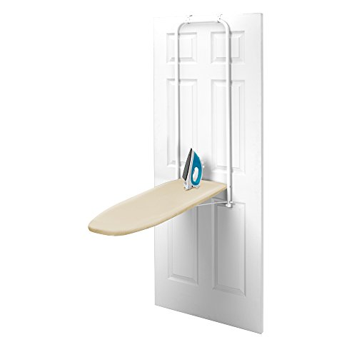 Standard Board Ironing Homz - HOMZ Over-the-Door Steel Top Ironing Board, Foldable, with Free Set of Dryer Balls Included