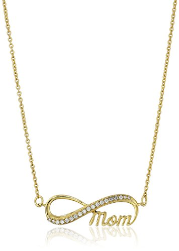 Gold Plated 925 Sterling Silver AAA Cubic Zirconia Infinity Mom Pendant Necklace, 18
