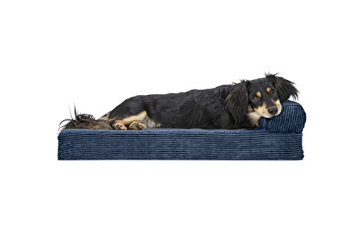 - FurHaven Pet Dog Bed | Deluxe Orthopedic Faux Fleece & Corduroy Chaise Lounge Sofa-Style Pet Bed for Dogs & Cats, Navy, Medium