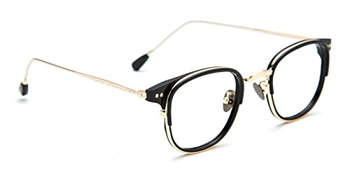 TIJN New Classic Oval Eyeglasses Frame Clear Lens with Metal - Oval Plastic Eyeglass Frames