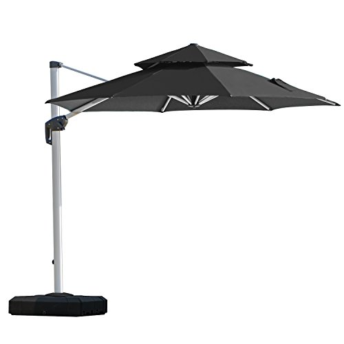 PURPLE LEAF 12 Feet Double Top Deluxe Patio Umbrella Offset Hanging Umbrella Outdoor Market Umbrella Garden Umbrella, Black ()