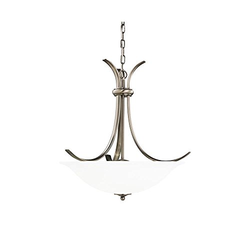Sea Gull Lighting 65361-965 Three-Light Rialto Pendant, Etched White Alabaster Glass Shade, Antique Brushed Nickel