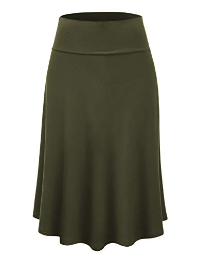 Solid Stretch Jersey - Lock and Love LL WB1105 Womens Lightweight Fold Over Flared Midi Skirt XXXL Olive