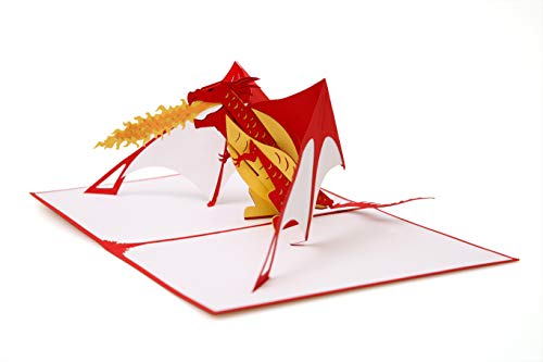 Red Dragon Pop up Cards All Occasion - Well Made and fro Birthday, Christmas, Thanks Giving, Graduation, Encouragement (Red Dragon)