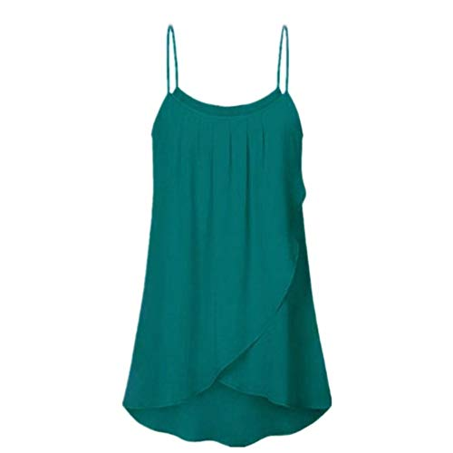 YOcheerful Womens Plus Size Shirts Casual Solid Sleeveless Tank Tops Chiffon Flowy Camis Sexy Vest(Green, S) -