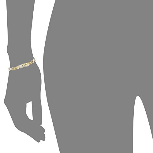 "7 Inch 10k Two-Tone Gold Stampato Xoxo Hugs and Kisses with Bear and Heart ""I Love You"" ID Bracelet by SL Gold Imports (Image #3)"