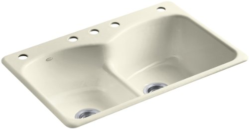 Kohler K-6626-5-FD Langlade Smart Divide Self-Rimming Kitchen Sink with Three-Hole Faucet Drilling and Two Accessory Hole Drilling, Cane Sugar