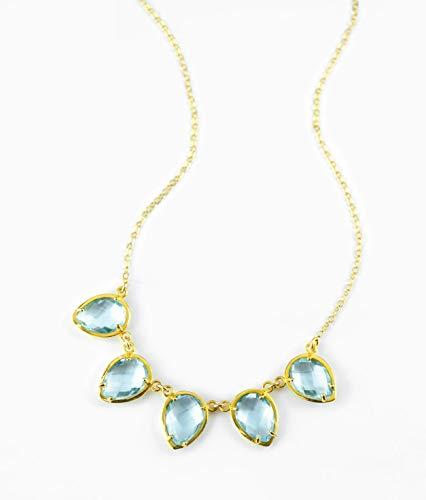 December Birthstone Necklace, Cluster Bib Style Statement Necklace, Multi stone spike necklace boho Blue Topaz necklace, gold trendy necklace [UPTD-5]