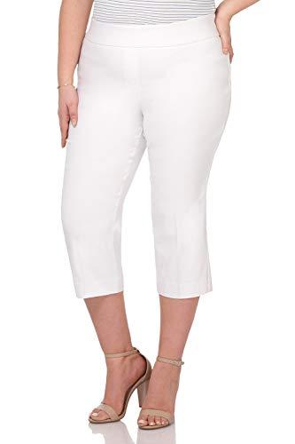 Classic Capris Stretch (Rekucci Curvy Woman Plus Size Classic Wide Waist Flattering Fit Capri (16W,White))