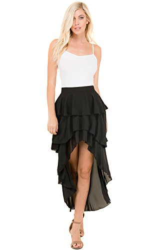 Women's Lovely Ruffle Layered High Waist Sexy Mini Front A-Line Skirts (BLACK-H33064, Small) -