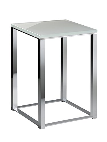 Backless Vanity Stool Bench Seat With Brass Metal Legs, Glass Seat (White-Chrome) by W-Luxury